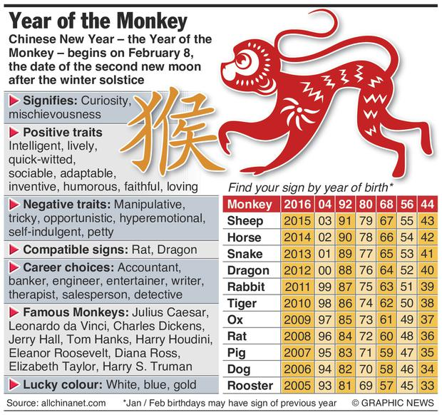 graphic shows year of the monkey factfile - When Is Chinese New Year 2016