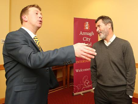 Manchester United legend and current Republic of Ireland Assistant Manger Roy Keane takes part in former Northern Ireland international Pat McGibbonÕs Train To Be Smart TTBS Juniors charity at the Armagh City Hotel. Pat McGibbon with Roy Keane(right) at the event. Picture by Jonathan Porter/PressEye