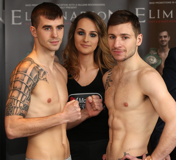 Up for it: James Fryers (left) and Maxi Hughes will square up in the headline bout at the Europa Hotel tonight