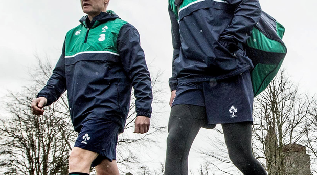 Ready for battle: Joe Schmidt and Jonathan Sexton prepare to take on Wales tomorrow