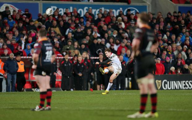 Guinness PRO12 Ulster v Newport Gwent Dragons at Kingspan Stadium, Belfast. Paddy Jackson kicks the winning penalty for Ulster. Picture by Darren Kidd / Press Eye.