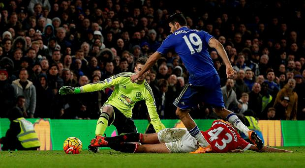 Target man: Diego Costa rounds David de Gea on his way to scoring Chelsea's equaliser