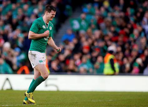 Ireland's Jonathan Sexton leaves the field after being substituted during the 2016 RBS Six Nations match at the Aviva Stadium, Dublin against Dublin.