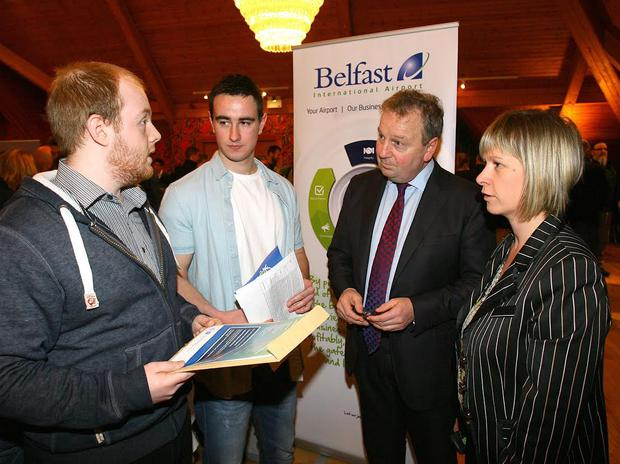 Attending Belfast International Airport's Jobs Fair in Templepatrick were Michael Gourley (Antrim) and David Lamont (Crumlin), pictured here talking to South Antrim MP Danny Kinahan and BIA's HR Manager Jaclyn Coulter