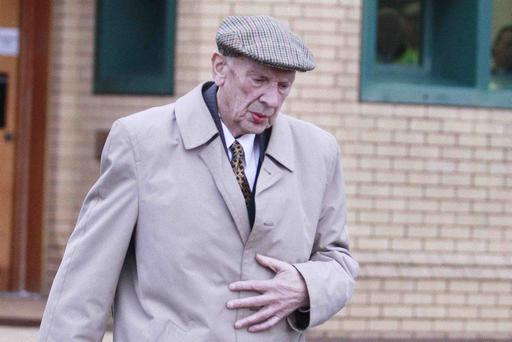 87-year old Vincent Lewis from Coalisland leaves Antrim Magistrate Court. Lewis was in court to answer charges of historic rape and sexual abuse of two boys.PICTURE MARK JAMIESON.