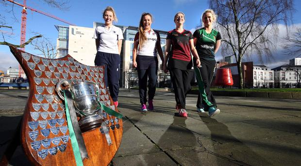 Up for the Cup: Belfast Telegraph Schools Cup semi-final captains Clara Lennon (Royal School Armagh), Katie Larmour (Methody), Katharine Hill (Sullivan Upper) and Sarah Russell (Banbridge Academy) only have eyes for one thing
