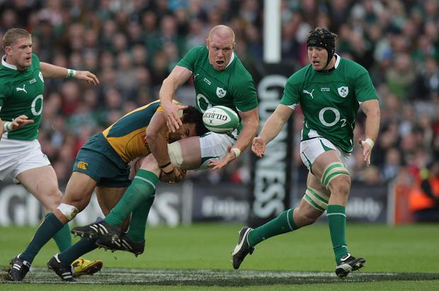 Old pals: Paul O'Connor and Stephen Ferris in action for Ireland