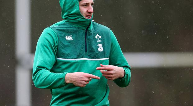 Cool customer: Ulster's Stuart McCloskey at Ireland's training session at Carton House, Co Kildare yesterday ahead of the clash against France