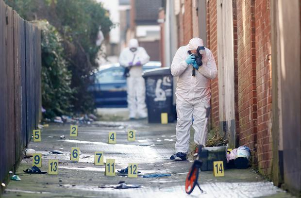 Pictured is Forensic officers at the scene of a suspicious death in the My Ladys Road area of East Belfast on February 10, 2016 in Belfast, Northern Ireland (Photo by Kevin Scott / Belfast Telegraph)