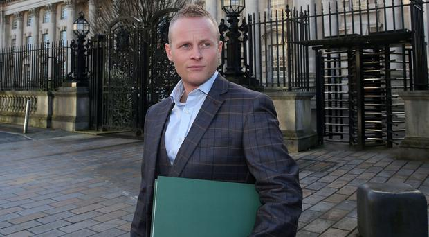 Jamie Bryson pictured this morning, challenging public processions act in court appeal. Photograph By Declan Roughan