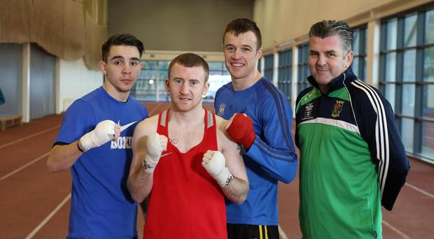 Boxing clever: Michael Conlan, Paddy Barnes and Steven Donnelly at their Olympic preparation camp at Sport Northern Ireland's Sports Institute yesterday