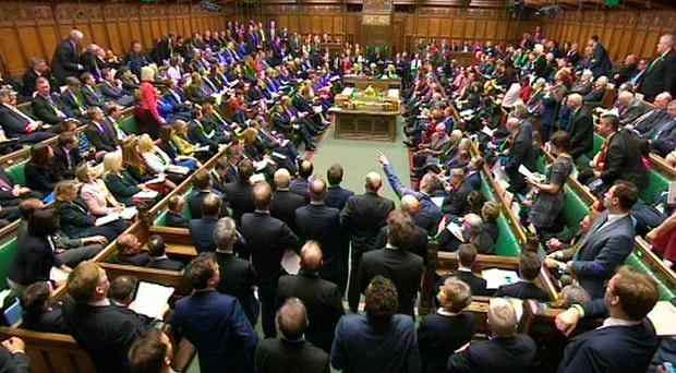 The debating chamber during Prime Minister's Questions in the House of Commons, London. Pic PA Wire