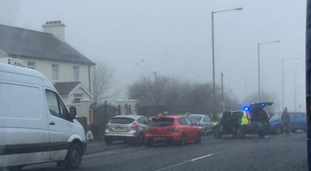 The Lisnevenagh Road between Ballymena and Antrim has been closed following a road crash. Picture: Lisa Smyth @Lisa_J_Smyth