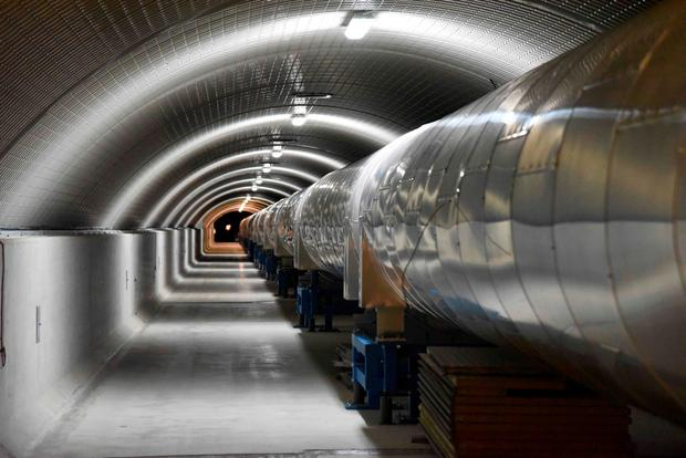A picture shows a 3km-long arm part of the Virgo detector for gravitational waves that is located within the site of EGO, European Gravitational Observatory, on February 9, 2016 between Cascina and Pisa in Tuscany. AFP/Getty Images