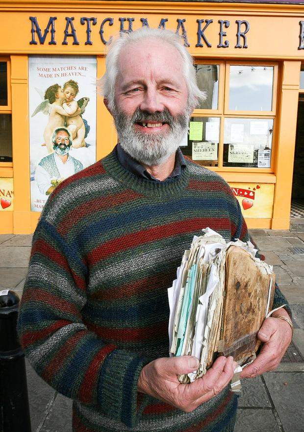 Matchmaker Willie Daly with his book of contacts at the Matchmaking Festival Lisdoonvarna. Photograph by Eamon Ward