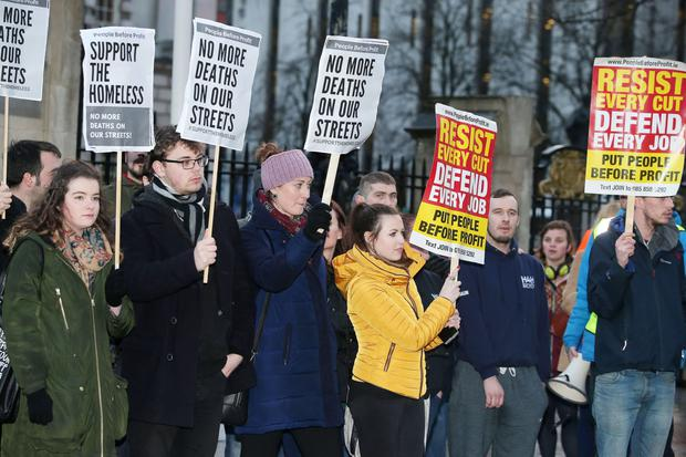 Protest held at the front of Belfast City hall after a homeless man died while sleeping rough in the city centre. Picture by Jonathan Porter/PressEye