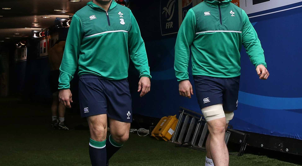 Into his stride: Ireland captain Rory Best walks out onto the Stade de France pitch with Sean O'Brien