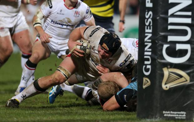 Ulster's Franco van der Merwe drives for the line. Picture by Darren Kidd / Press Eye.