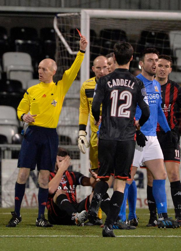 Marching orders: Eoin Bradley is sent off in the final minutes