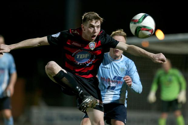Eye on the ball: Coleraine's Ian Parkhill gets ready to control