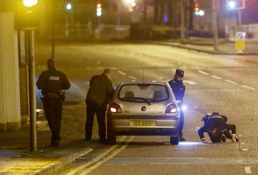The car at the centre of a bomb alert at Millfied in Belfast as a 999 call suggested that a bomb was left in the car on February 12, 2016 in Belfast, Northern Ireland ( Photo by Kevin Scott / Presseye)