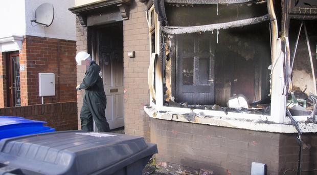 The scene of a deliberate fire in the Glencairn Crescent area of Belfast on February 14, 2016 in Belfast, Northern Ireland ( Photo by Kevin Scott / Presseye).