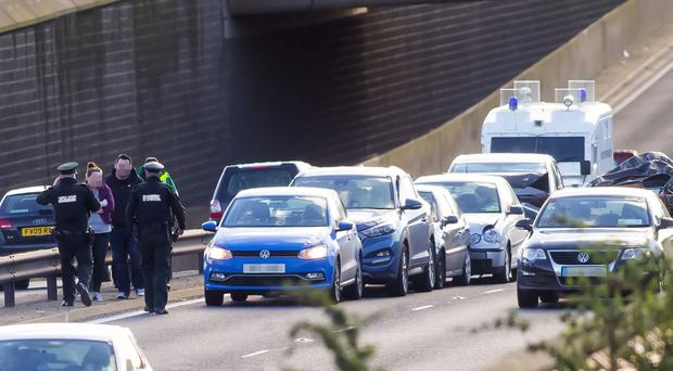 The scene of multiple car collision that close the outside lane of the M1 City Bound at the Divus St off slip on February 14, 2016 in Belfast, Northern Ireland ( Photo by Kevin Scott / Presseye)