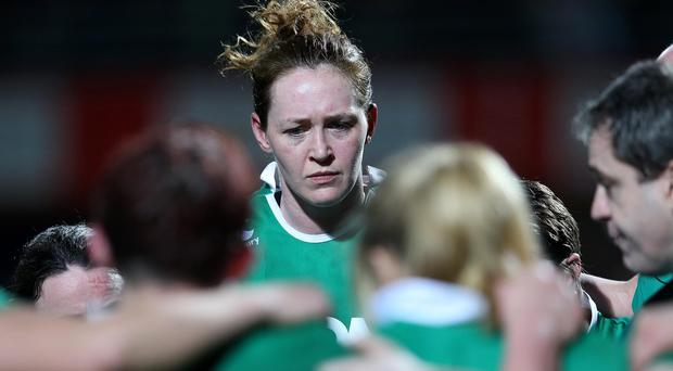 Pain of defeat: Ireland's Marie Louise Reilly addresses her team-mates after the loss to France in Perpignan