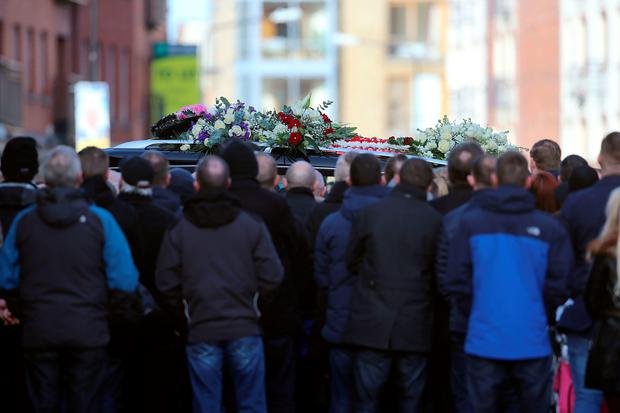 The hearse arrives at St Nicholas of Myra church on Francis Street in Dublin, during the funeral of David Byrne, who was shot dead during a boxing weigh-in at the Regency Hotel in the north of the city on Friday February 5 by a six strong gang, some armed with assault rifles. Niall Carson/PA Wire