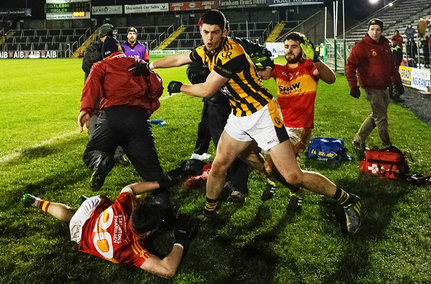 Ugly scenes: the Crossmaglen against Castlebar All-Ireland club semi-final was marred by scuffles towards the conclusion