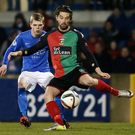At the double: Curtis Allen hit a brace in Glentoran's win over Glenavon at Mourneview Park