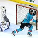 Belfast Giants' Brandon Benedict celebrates scoring against Dundee Stars during Tuesday nights Elite League game at the SSE Arena, Belfast.