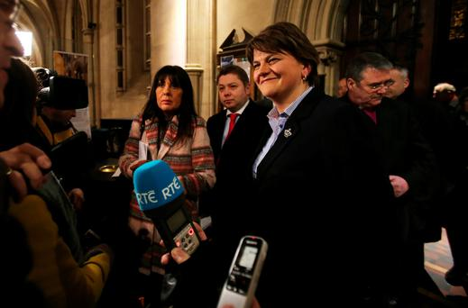 Northern First Minister and DUP leader Arlene Foster speaks to the media whilst attending an event to mark the 1916 Rising at Christ Church Cathedral in Dublin. PA