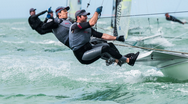 Buoyed for Brazil: Ryan Seaton (left) and Matt McGovern in action off Clearwater, Florida