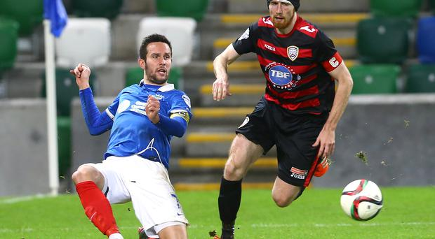 Focus: Howard Beverland (right) says speculation over his future will not distract him as Coleraine prepare to meet Linfield tomorrow