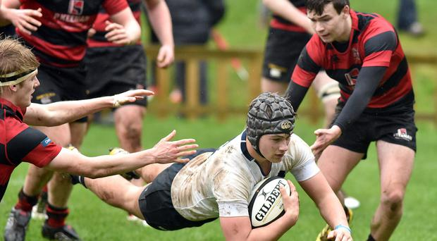 Cameron Kelly scores for Methody in their victory over Rainey Endowed