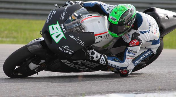Confidence building: Eugene Laverty was back on his new Ducati after recent crashes