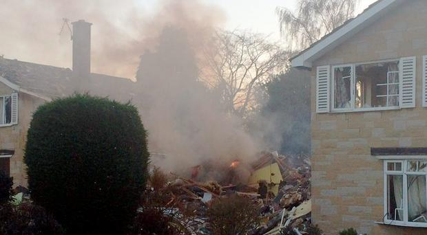 Picture taken with permission from the Twitter feed of Rob Varley, of a house in Haxby, near York, destroyed by an explosion.