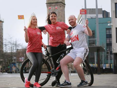 Miss Northern Ireland, Leanne McDowell, and BBC Northern Ireland personalities Lynette Fay and Barra Best are getting behind the 2016 Belfast Sainsbury's Sport Relief Games. Photo by Phil Smyth.