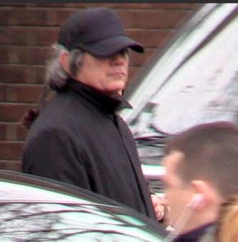 Gerry 'The Monk' Hutch pictured leaving the church at the funeral of his brother.