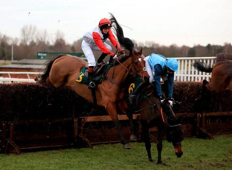 Impeded: Victoria Pendleton about to part company with Pacha Du Polder (left) as Carey Williamson and Baltic Blue hit the deck at Fakenham yesterday