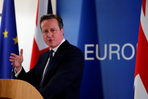 Prime Minister David Cameron speaks at a news conference after negotiating new EU membership terms for the UK, on February 19, 2016 in Brussels, Belgium.