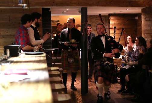A piper entertains at The Gannet's Burn's Night supper. Pic The Gannet/Facebook