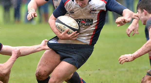 Getting shirty: Ballymena's Marcus Rea comes under close scrutiny from BRA ace Tom Gilpin in the Schools' Cup