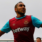 Dimitri Payet celebrates scoring West Ham's fifth goal