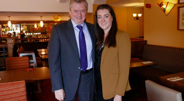Eugene McKeever with his daughter Bridgene, the family firm's sales and marketing director, in Corrs Corner Hotel, Newtownabbey