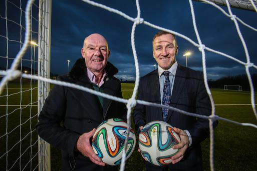 Colin Russell (left), secretary at Knockbreda FC, with Phelim Sharvin, associate director at UCIT