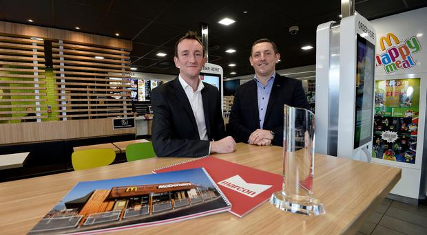 Mark McElroy and Mark O'Connor from Marcon celebrated their McDonald's supplier award