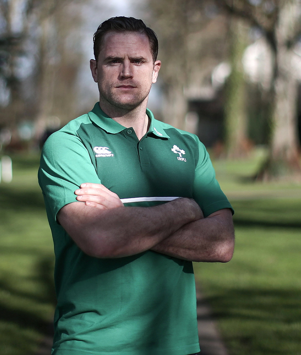 Ready for battle: Jamie Heaslip at Ireland's training camp at Carton House, Co Kildare yesterday