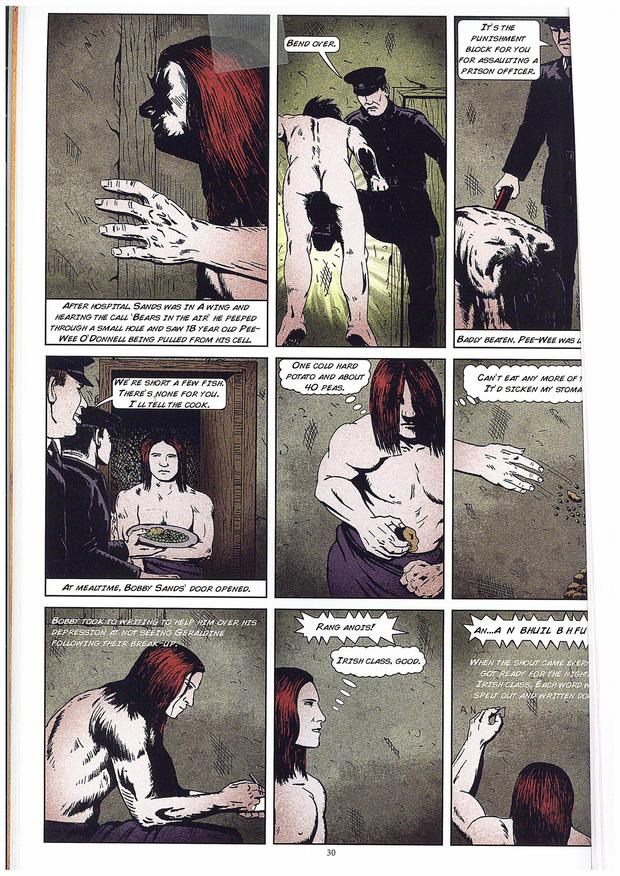 Some of the pages in the graphic novel commemorating the life of IRA man Bobby Sands, who died on hunger strike in 1981